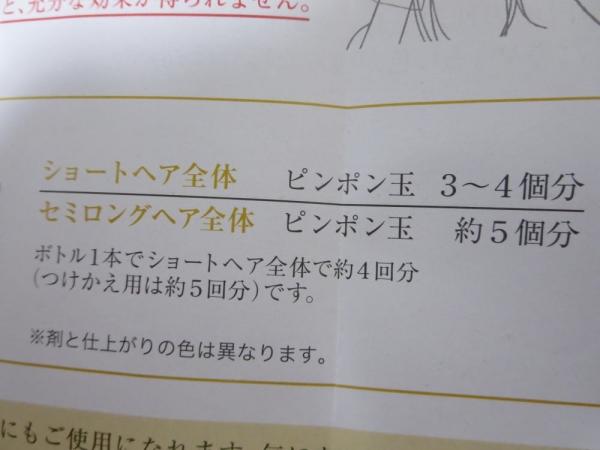 花王リライズ白髪用髪色サーバーの使用量