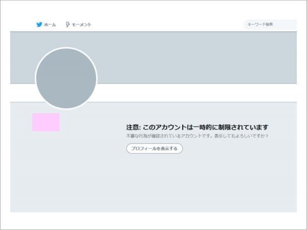 Twitter 注意: このアカウントは一時的に制限されています